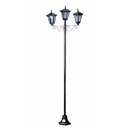 Triple Heads Street Vintage Outdoor Garden Solar Lamp Post Light Lawn Walma