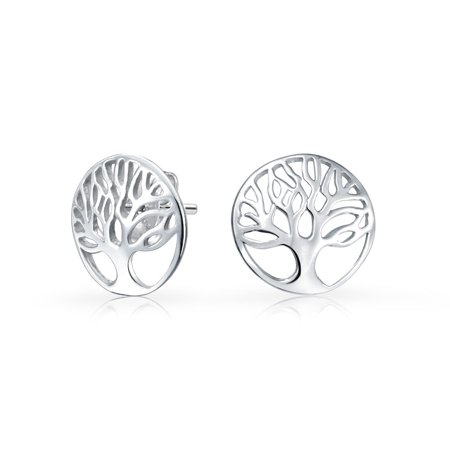Tiny Round Circle Family Tree of Life Stud Earrings For Women Teen Wishing Tree Rose Gold Plated 925 Sterling Silver