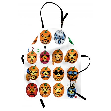 Halloween Apron Carved Pumpkin with Emoji Faces Halloween Inspired Humor Hipster Monsters Artwork, Unisex Kitchen Bib Apron with Adjustable Neck for Cooking Baking Gardening, Orange, by Ambesonne - Halloween Inspired Shots