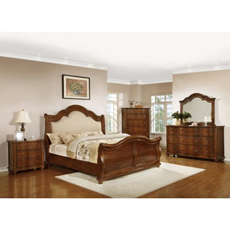 Delmont Queen 5 Piece Bedroom Set With Chest In Brown Cherry