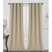 Regal Home Collections 2 Pack 100% Blackout Thermal Energy Saving Grommet Top Curtain Panels - Linen, 84 In. Long