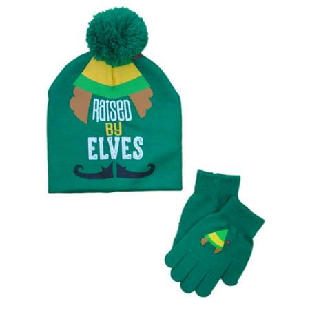78e89c8d56e Elf Movie Boys Green Raised By Elves Winter Hat   Gloves Beanie Set