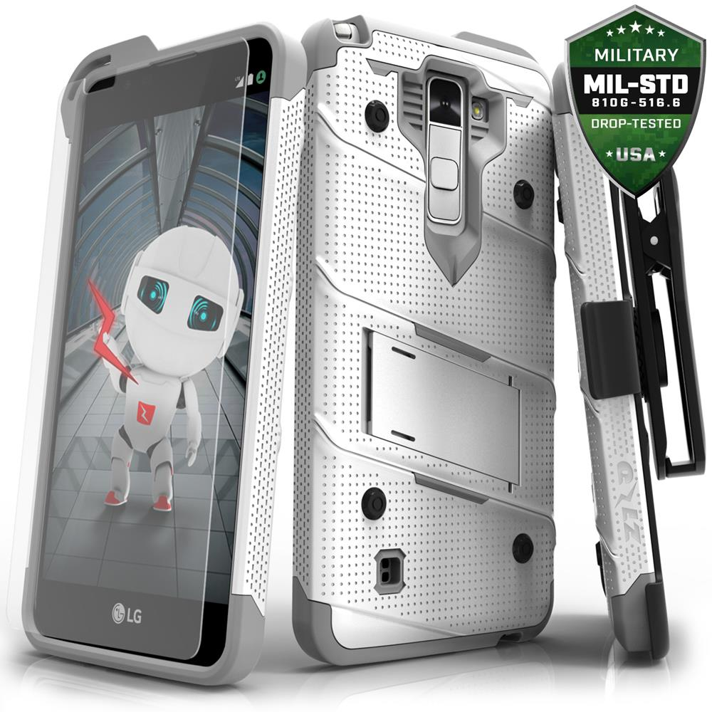 Zizo BOLT Series compatible with LG Stylo 2 Plus Case Military Grade Drop Tested with Tempered Glass Screen Protector, Holster