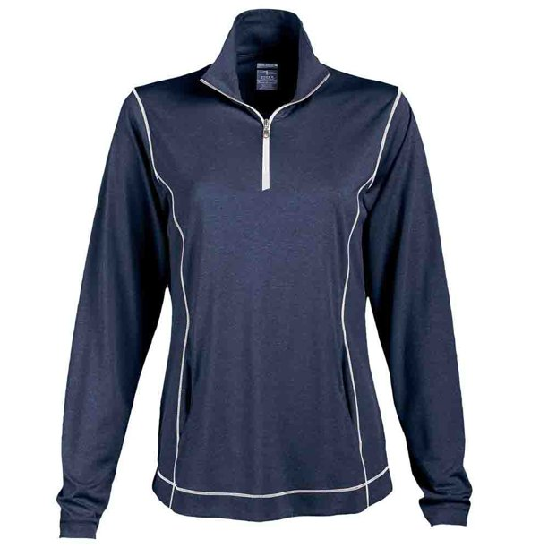 Page & Tuttle Womens Coverstitch Heather Mock Neck  Golf Athletic Outerwear Pullover -