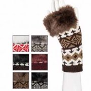 Gloves-Aztec Print w/Fur-Fingerless-Asst Colors (Pack of 6)