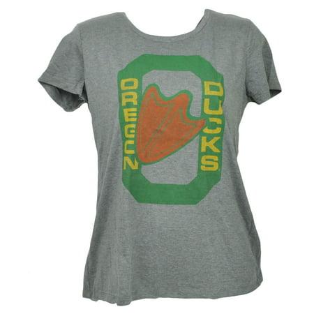Ncaa Oregon Ducks Gray Womens Tshirt Tee Crew Neck Short Sleeve Ladies Xsmall