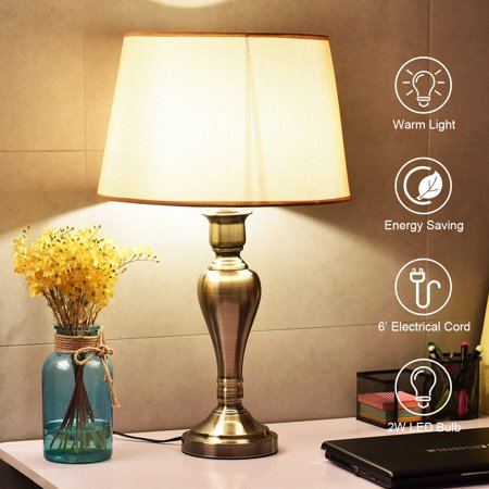 Goplus 25'' Antique Brass Table Lamp w/ LED Bulb Linen Shade Iron Base Office Flamingo Antique Brass