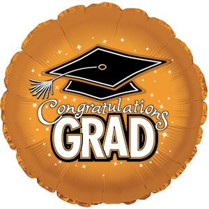 Graduation Cap 17in Mylar Balloon Orange (1/pkg) Pkg/1