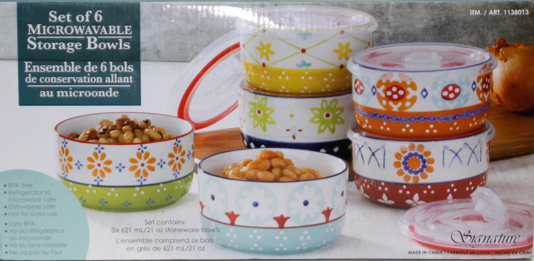 Microwavable Signature Housewares 6-piece Stoneware Storage Bowls With Lids