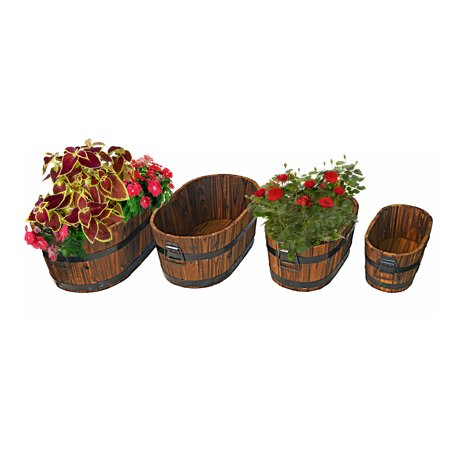 Wood Oval Planters -  Burnished Planters for Garden or Patio, Set of Four