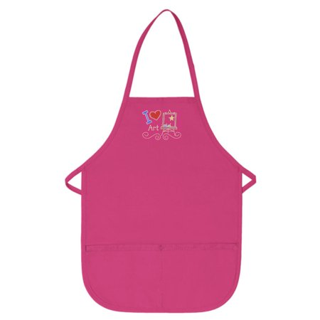 Hot Pink Kids Art Smock with I Love Art Design by My Little Doc XL