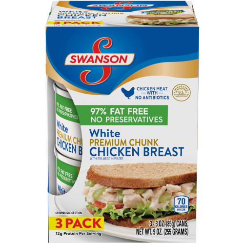 (6 Cans) Swanson White Premium Chunk Chicken Breast with Rib Meat in Water, 3 oz.