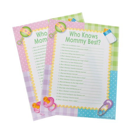 Fun Express - Who Knows Mommy Best Baby Shower Game for Baby - Toys - Games - Indoor & Mini Game Sets - Baby - 24 (Best Indoor Toys For Active Toddlers)