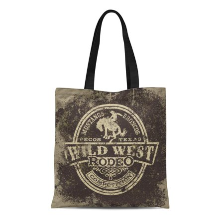 SIDONKU Canvas Tote Bag Wild West Rodeo Vintage for Boy Wear Effect Reusable Shoulder Grocery Shopping Bags Handbag