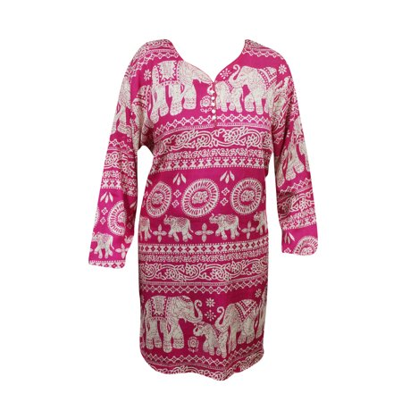 Mogul Women's Fashion Tunic Animal Print Pink Rayon Comfy Ethnic Indian Kurti Kurta (Womens Kurtas)