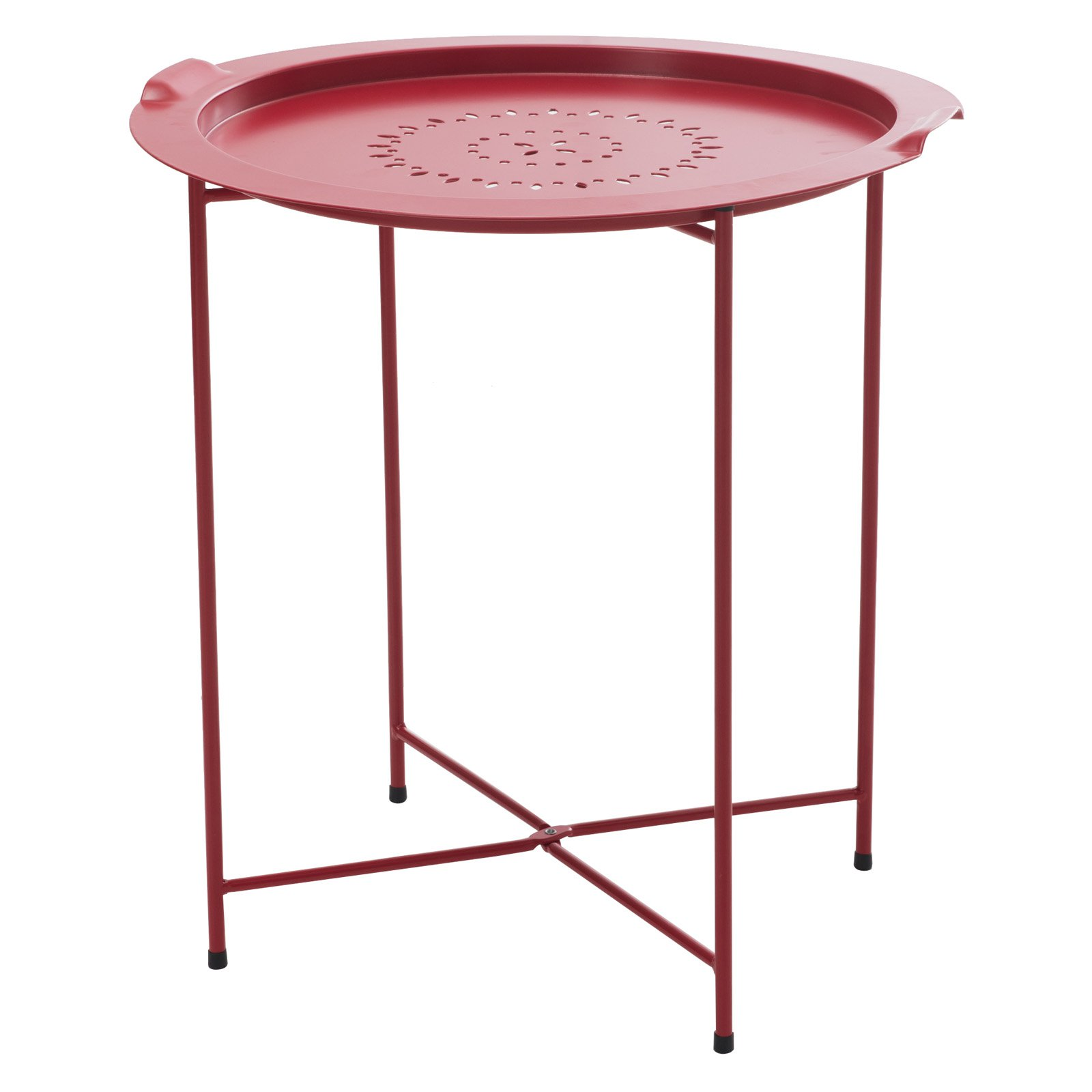 Sunjoy 110206035 Side Table with Removable Tray Red