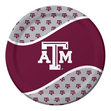 Pack of 96 NCAA Texas A&M Aggies Round Tailgate Party Paper Dinner Plates -