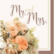 Rose Gold Bouquet Mr. and Mrs. Napkins, 16pk