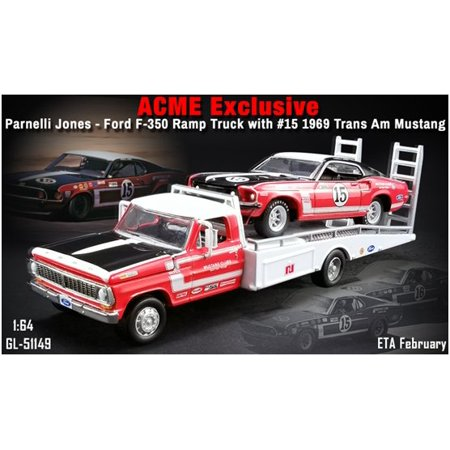1969 Ford 302 - ACME 1:64 PARNELLI JONES' #15 1969 BOSS 302 TRANS AM MUSTANG WITH FORD F-350 RAMP TRUCK 51149