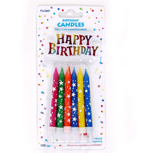 Eros F01-PTC139 Birthday Candles with Holders & Happy Bir...