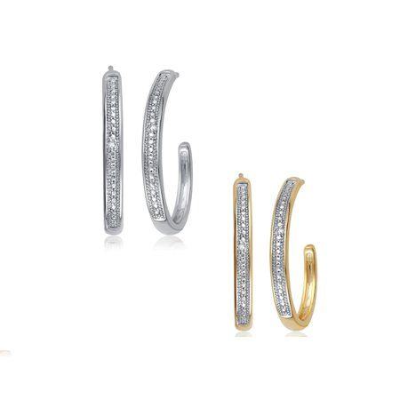 Two Colour Diamond Set (Luxurious 0.02 Cttw Natural Diamond Accent Hoop Earrings In Two Color Sets Crafted in 14K Gold)
