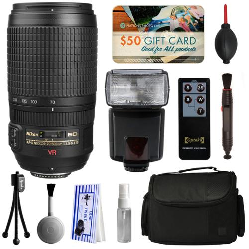 Nikon AF-S VR Zoom-NIKKOR 70-300mm f/4.5-5.6G IF-ED Lens 2161 with Starter Accessories Bundle includes E-TTL II Flash + Large Case + Remote Shutter Release + Cleaning Kit + $50 Gift Card for Prints