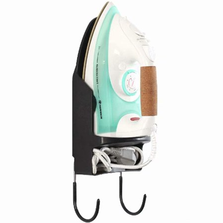 Ironing Board Holder and Iron Rest Heat Resistant Wall Mounted Holder with Steel Hooks,Black Iron Board Hooks Storage Organizer ()