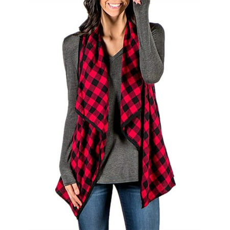 Women's Fashion Sleeveless Plaid Vest Lapel Open Front Cardigans (Buffalo Plaid Vest Women)