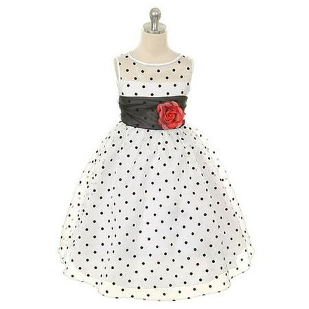 Kids Dream Little Girls White Black Organza Dot Flower Girl Dress 2T](Black And White Girls Dress)