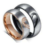 Couple's Matching Heart Ring, His and Her Wedding Band in Stainless Steel, for Men and Women, Comfort Fit