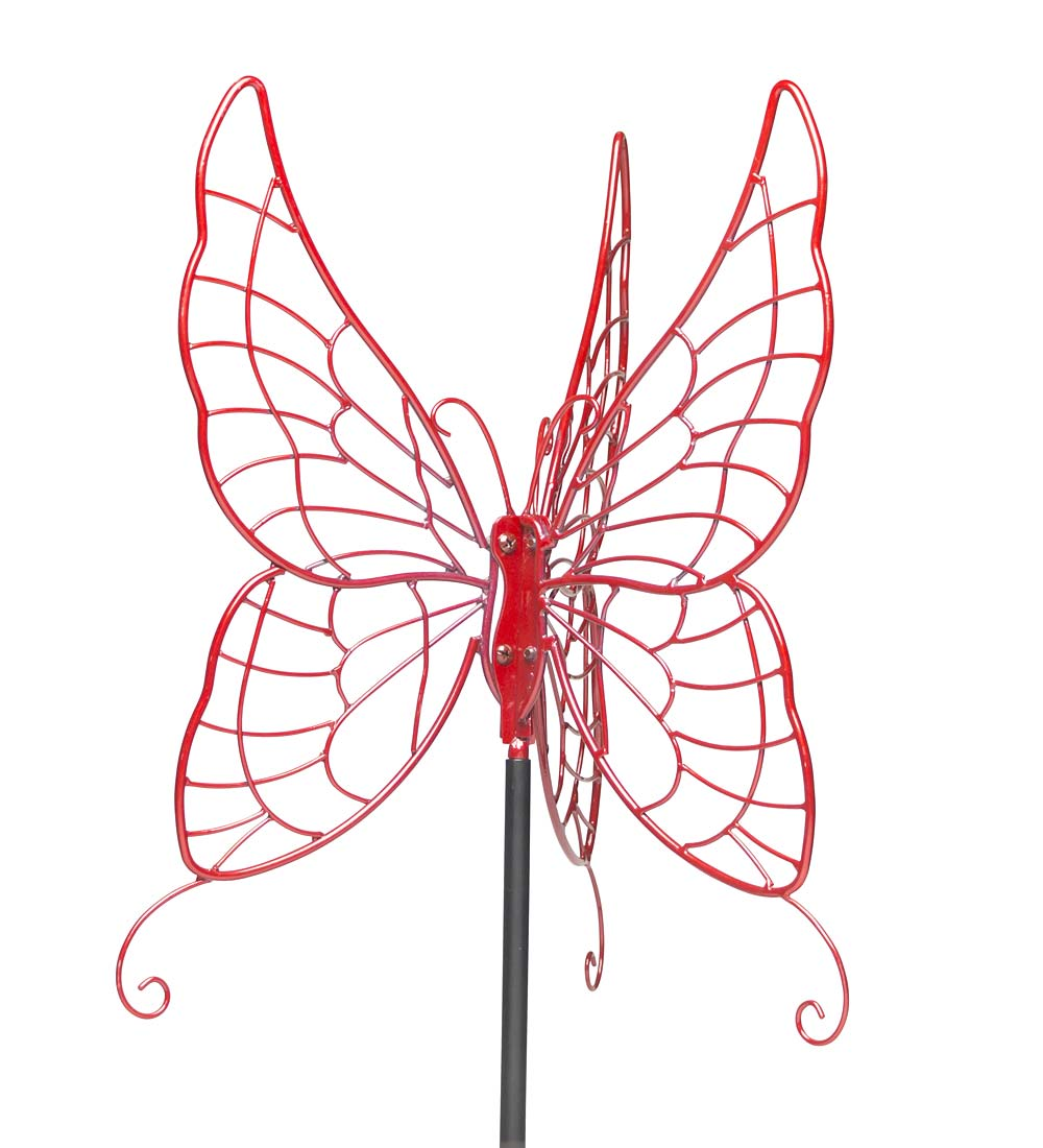 Butterfly Gazing Ball Garden Stand, in Red-Painted Metal by Plow & Hearth