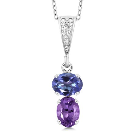 2.37 Ct Purple Blue Mystic Topaz Purple Amethyst 925 Sterling Silver Pendant