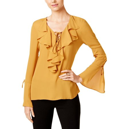 Eci New York Womens Chiffon Bell Sleeves Blouse