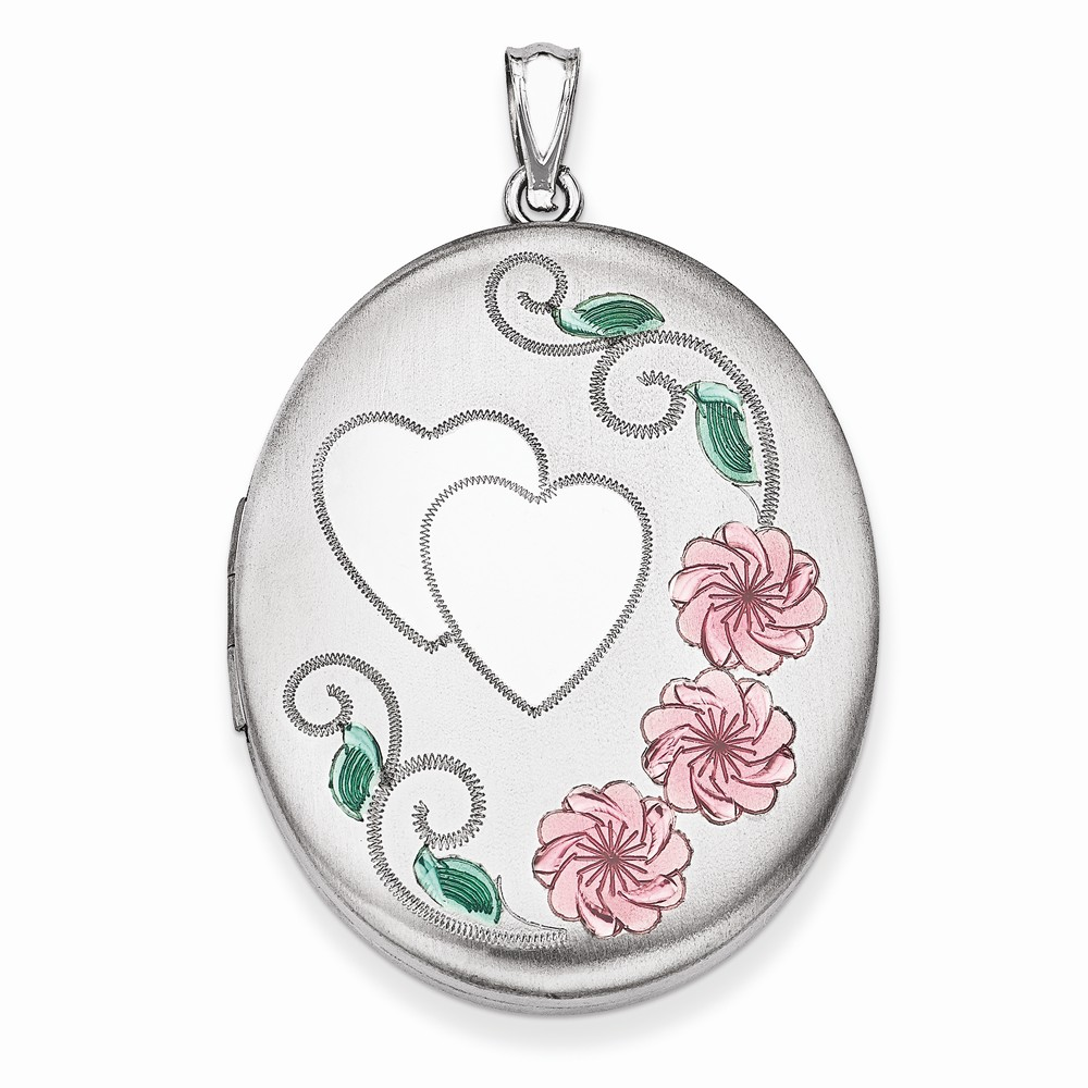 925 Sterling Silver Pink and Green Enamel Floral Heart in Oval Locket Charm - 34mm