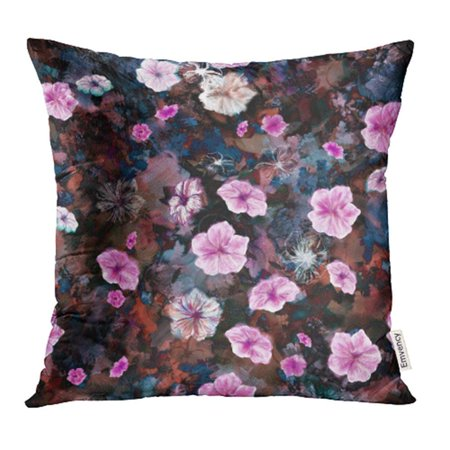 CMFUN Floral Five Petal Summer Flowers Like Rosy Periwinkle Petunia with Mixed Media Pillowcase Cushion Cover 18x18 inch