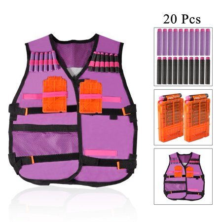 Estink Kids Vest Childrens Elite Tactical Vest for Guns N-strike Elite Series With 20 Pcs Soft Foam Darts and 2 Pcs Plastic Bullet Clips Magazine Clips - Pink Purple for Girls for $<!---->