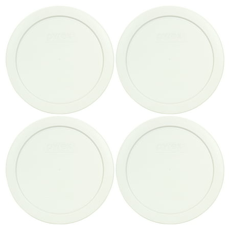 Pyrex Replacement Lid 7201-PC White Round Plastic Cover (4-Pack) for Pyrex 7201 4-Cup Bowl (Sold Separately)