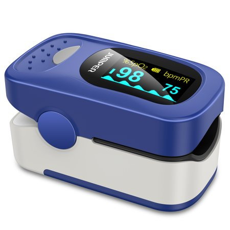 JUMPER 500A Fingertip Pulse Oximeter Oximetry Blood Oxygen Saturation Monitor Heart Rate Monitor Pulse Oximeter for Sports Home Health Care with Carrying Case, Batteries and Lanyard ()