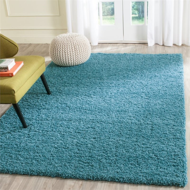 "Safavieh Laguna Shag 6'7"" Square Power Loomed Rug in Turquoise - image 9 of 10"