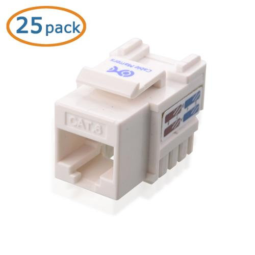 [UL Listed] Cable Matters 25-Pack Cat6 RJ45 Keystone Jack (Cat 6 / Cat6 Keystone Jack) in White with Keystone Punch-Down Stand