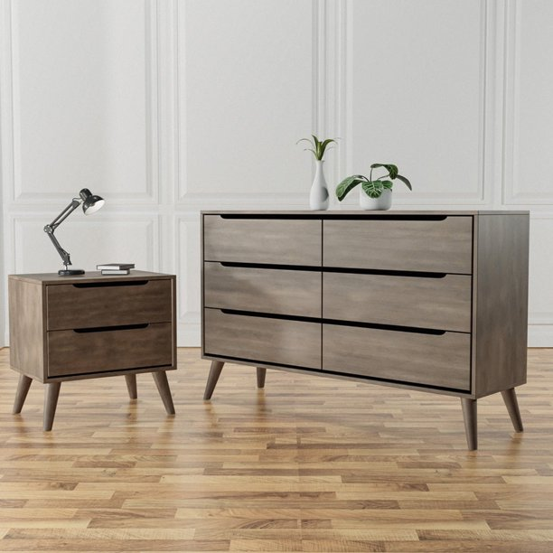 Furniture of America Farrah Mid-Century Modern 2-Piece Dresser and Nightstand Set, Gray