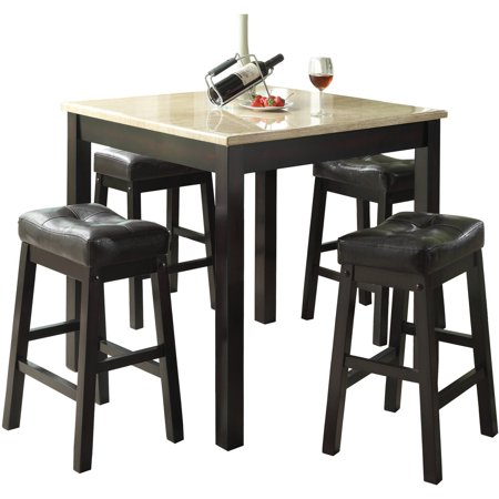 Monarch Dining Set 5Pcs / Cappuccino With Beige Marble Top