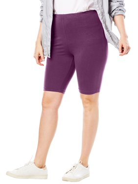 Woman Within Plus Size Stretch Cotton Bike Short Shorts