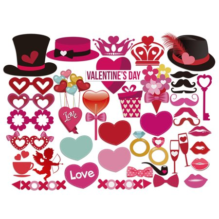 PBPBOX Valentine's Day Photo Booth Props 40 pieces DIY Creative Kit for Parties](Creative Photo Props)