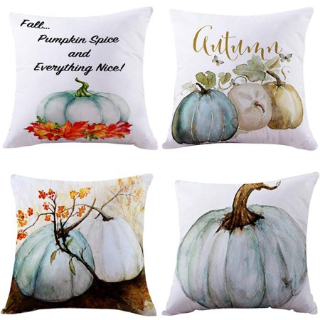 Simple Cheap Halloween Decorations (SUFAM Set of 4 Pillow Cases Halloween Autumn Fall Pumpkin Simple Modern Maple Leaf Light Throw Pillowcase Cover Cushion Case Home Decor 16x16)