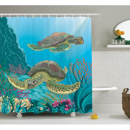 Sea Animals Decor Shower Curtain Set Illustration Of Two Sea Turtles Swimming Underwater
