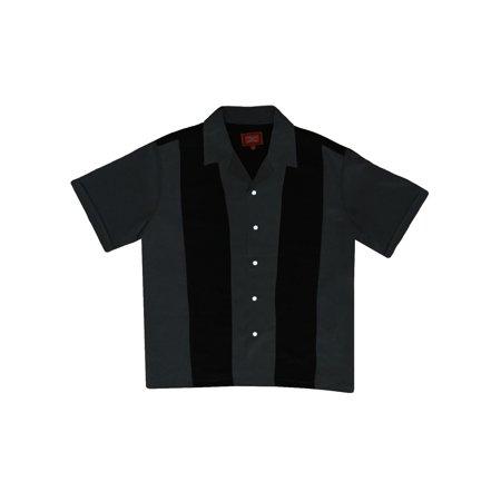 d2cd50bbe Maximos - Men's Two Panel Retro 50s Bowling Casual Dress Short Sleeve Shirt  Black Dark Grey - Walmart.com