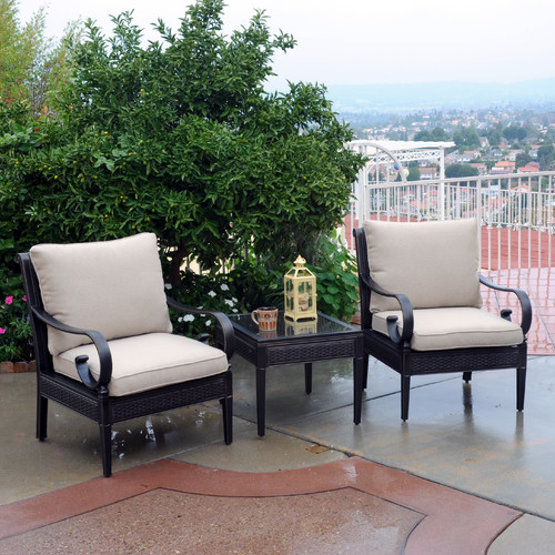 Meadow Decor Roma 3 Piece Sunbrella Conversation Set with Cushions