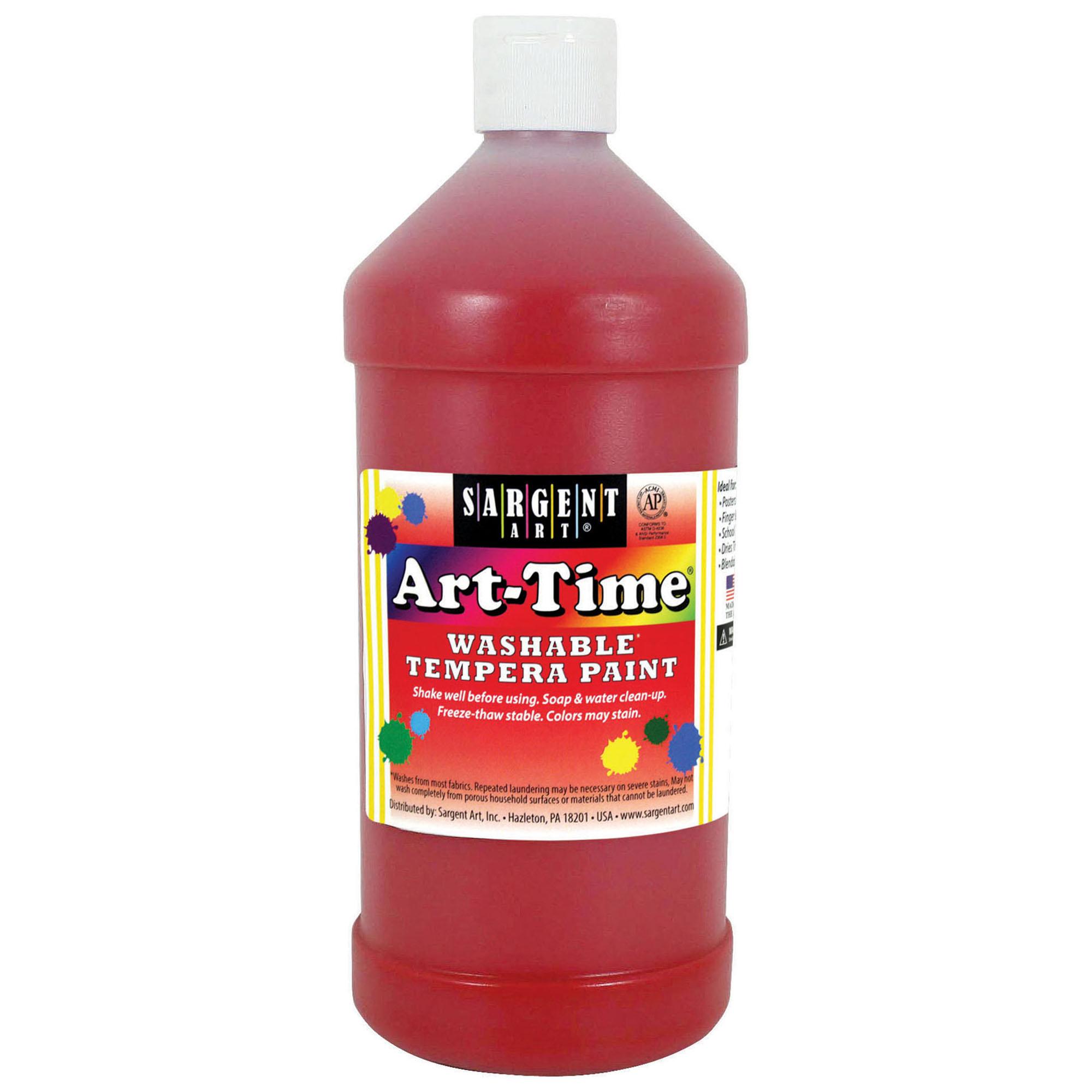 Art-Time® Washable Tempera Paint, Red - 32 oz., 6/pkg