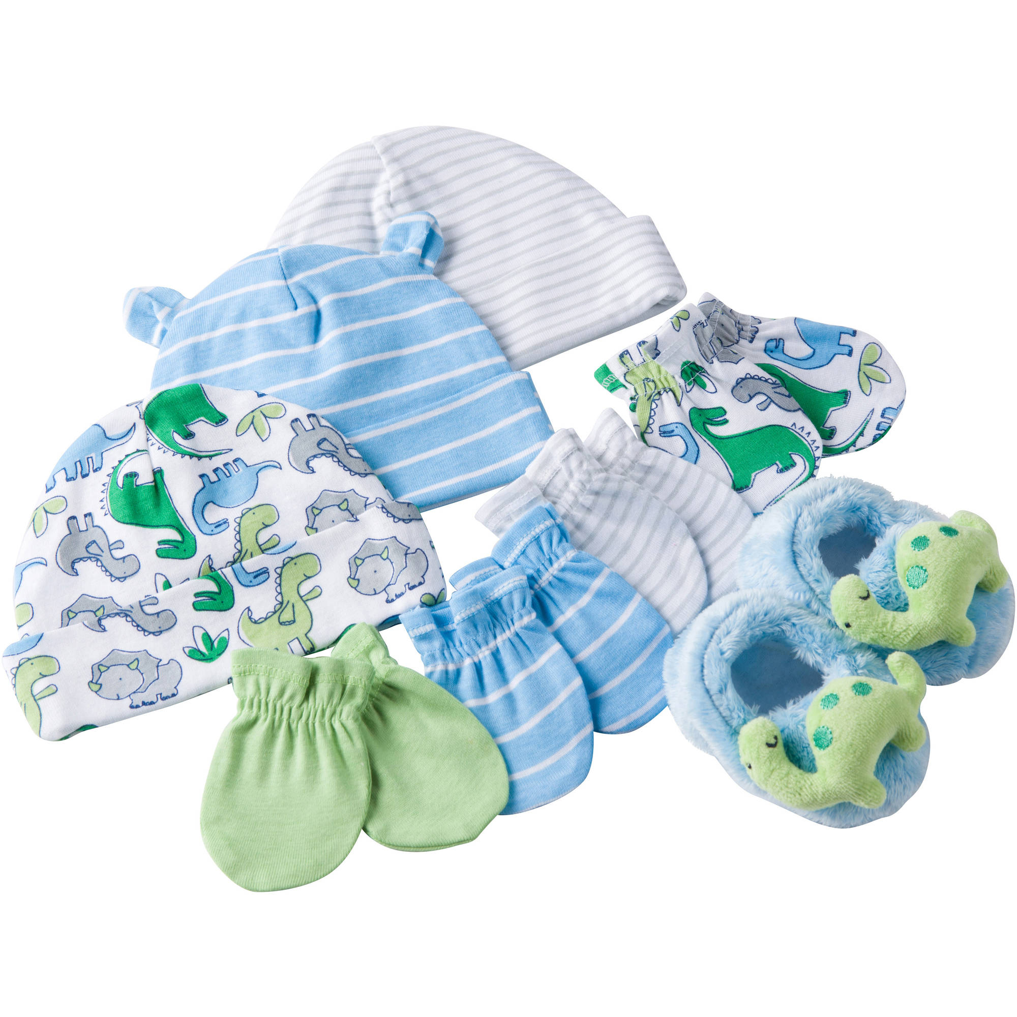 Gerber Newborn Baby Boy Caps, Mittens and Booties Accessory Baby Shower Gift Set, 8-Piece
